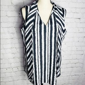 Essentials Black and White Stripe Sleeveless Top L